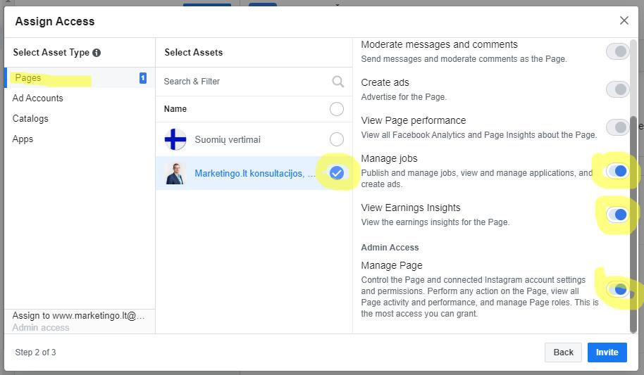 kaip prideti admina facebook business account instrukcija