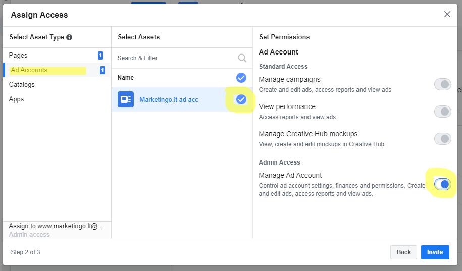 admino pridejimas facebook business account instrukcija