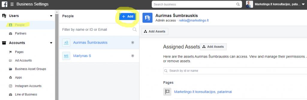 facebook business account user pridejimas manager