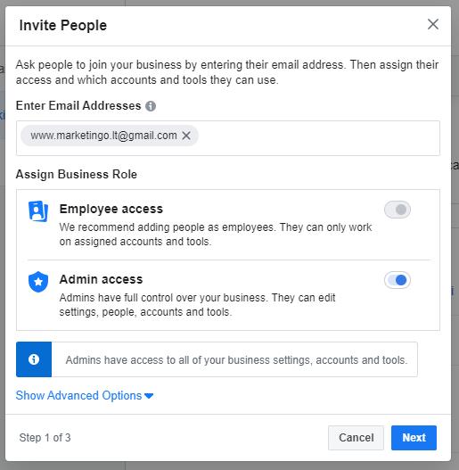 facebook business account prideti vartotoja